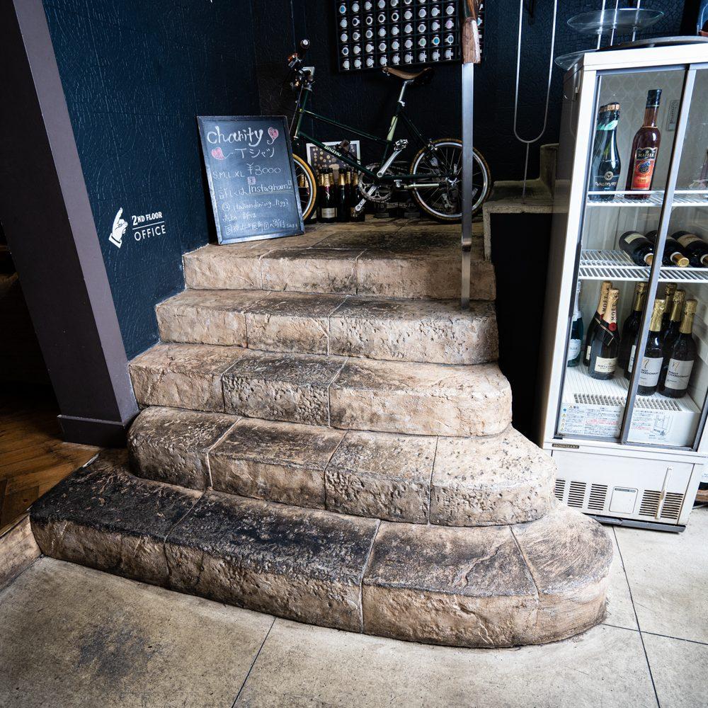 デザインコンクリート、モルタル造形で施工した階段